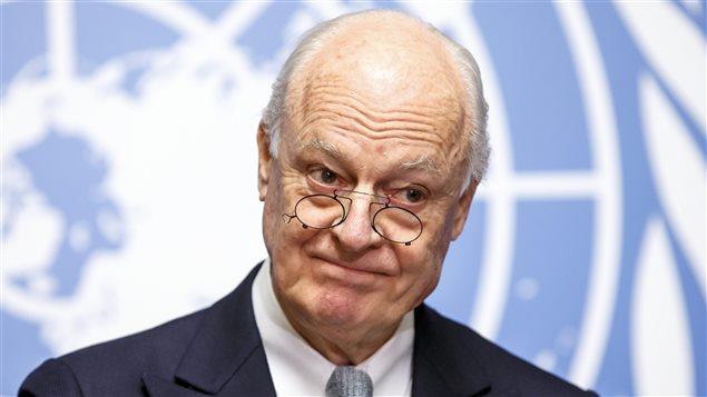 L'envoyé spécial des Nations unies pour la Syrie, Staffan de Mistura, durant une conférence de presse tenue aux bureaux de l'ONU à Genève, le 25 janvier dernier
