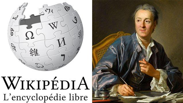 Le logo de Wikipédia et Diderot peint par Louis-Michel van Loo
