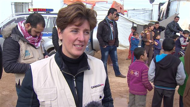 International Development Minister Marie-Claude Bibeau during a visit to a refugee camp in Jordan.