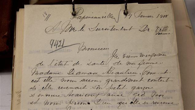 La lettre en date du 14 février 1910 écrite par Damas Beaulieu à sa femme internée à l'asile Saint-Jean-de-Dieu, à Montréal