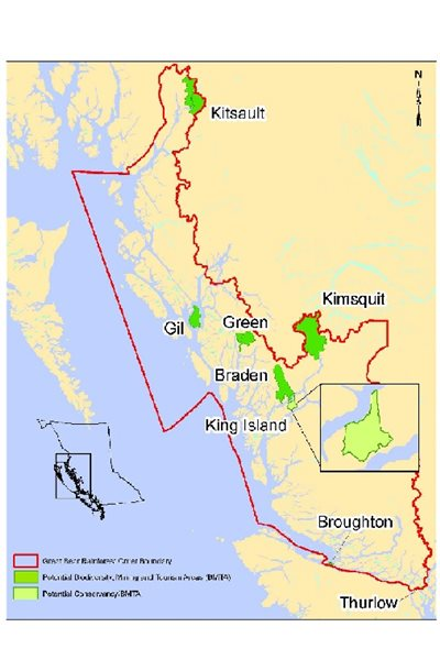 The Great Bear Rainforest, from about 200km nothe of Vancouver all the way up to the Alaska panhandle border.