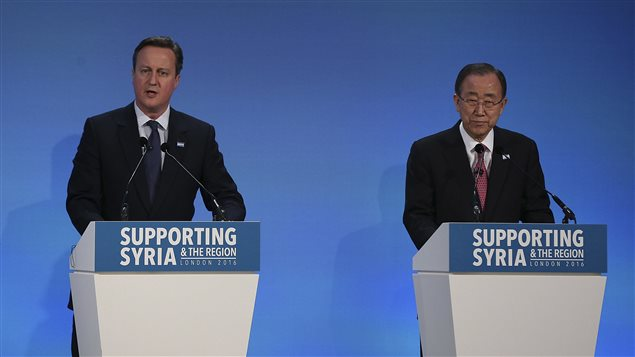 Britiain's Prime Minister David Cameron (L) and UN Secretary-General Ban Ki-moon speak at the donors Conference for Syria in London, Britain February 4, 2016.