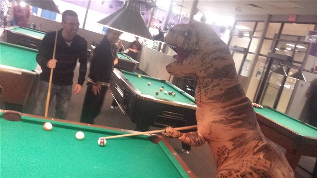 Conrad le tyrannosaure essaie d'améliorer ses talents de joueur au billard, à Winnipeg.