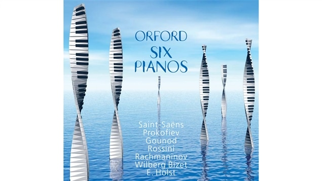 Pochette de l'album <i>Six pianos</i> de l'ensemble Orford Six Pianos, parus sous étiquette Atma
