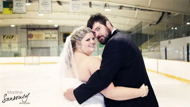 Brittany and Wade Peterson have a common love of skating and hockey and decided to get married on the ice.