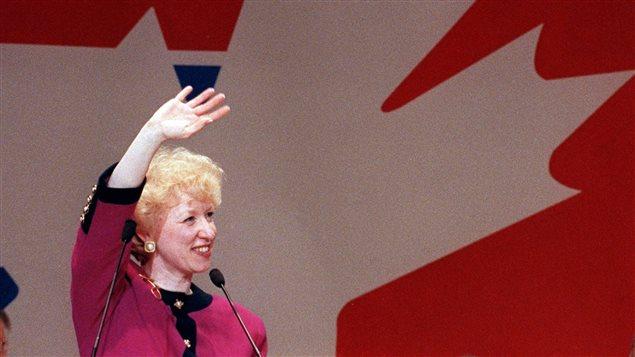 Kim Campbell le soir de son élection comme chef du Parti progressiste-conservateur et, de facto, première ministre du Canada