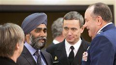 Le ministre canadien de la Défense, Harjit Sajjan lors de la rencontre de l'Organisation du traité de l'Atlantique nord à Bruxelles.