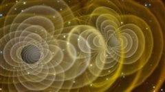 Illustration de l'émission d'ondes gravitationnelles émises par l'orbite de deux trous noirs.