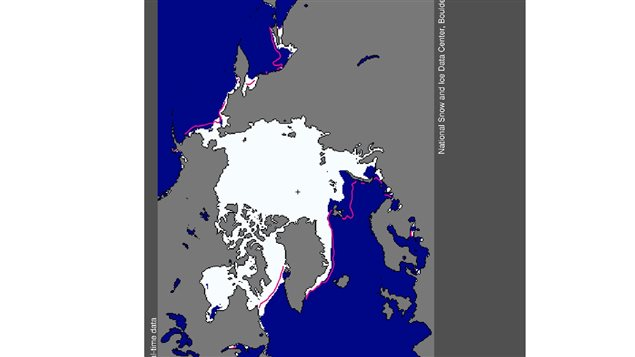 NSIDC imagery showing *normal* ice extent (red line) and conditions in Dec 2015.  January had the lowest ice extent on record for the month.