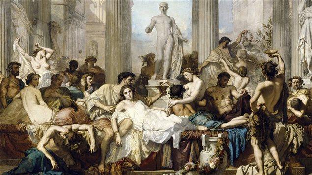 D�tail d'une peinture de Thomas Couture illustrant le d�clin de l'Empire romain (1847)