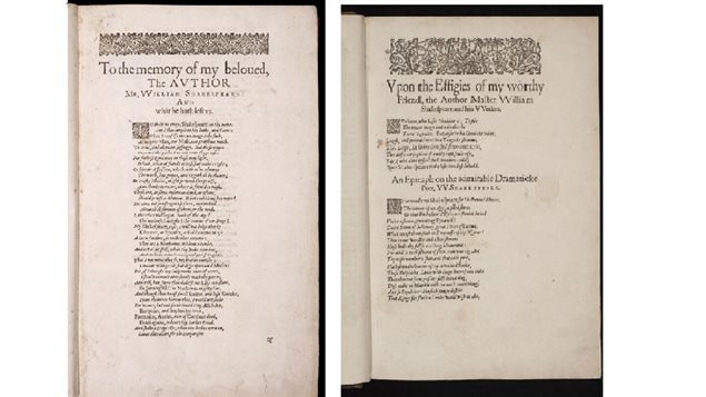 Examples of the works inside the First Folio, almost 400 years old, and the only copy in Canada