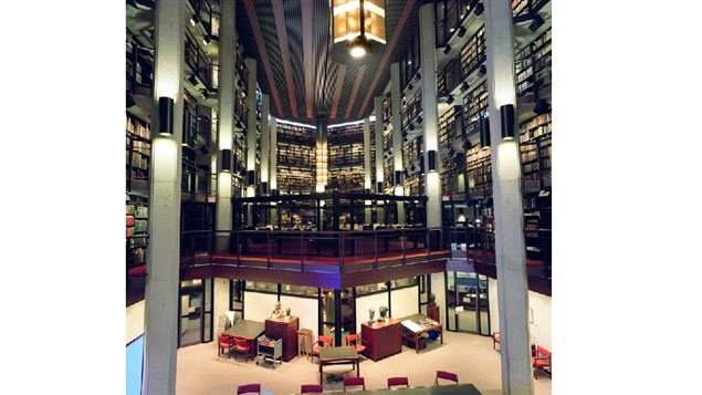 Another view of the huge Fisher Library of rare books at the University of Toronto