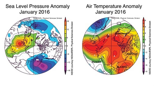 Anomolies over the Arctic as recorded by NSIDC in January showing especially the unusual heat over much of the Arctic