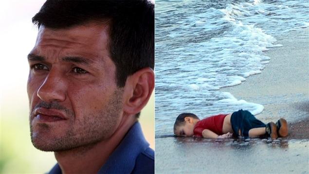 Abdullah Kurdi, à gauche, et le corps de son fils Alan, à droite, retrouvé mort sur une plage turque en août 2015