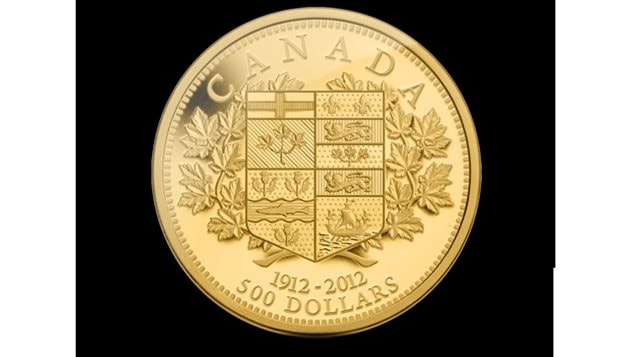 A 100th anniversary 2012 minting of a 500 dollar Canadian gold coin bearing the shield of Canadian provinces of the period that appeared on the original 1912 five and ten dollar gold coins