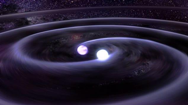 Illustration d'ondes gravitationnelles cr��es par un syst�mes binaires d'�toiles.