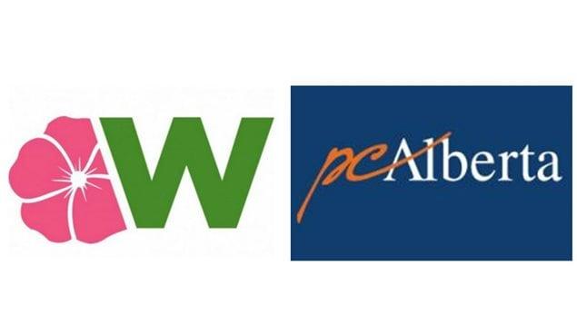 Les logos des partis politiques Wildrose et conservateur.