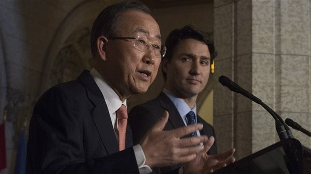 Prime Minister Justin Trudeau and United Nations Secretary General Ban Ki-moon take part in a joint news conference in the Foyer of the House of Commons on Parliament hill in Ottawa, Thursday February 11, 2016.