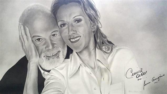 Un des portraits de René Angélil et Céline Dion de Steeven Chapados