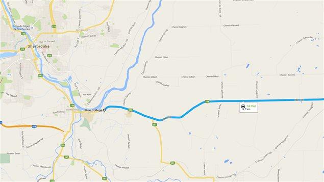 Lieu de l'accident impliquant un autobus scolaire à Cookshire-Eaton
