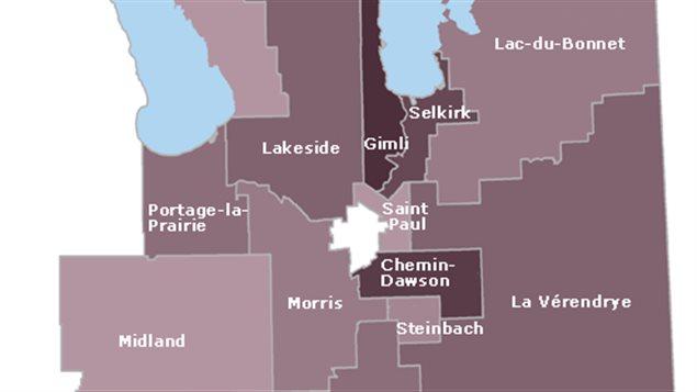 Extrait de la carte électorale du Sud-Est Manitoba
