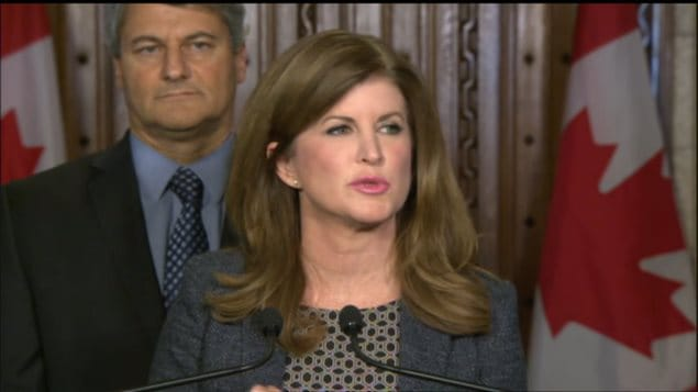 Interim Conservative Leader Rona Ambrose reacts to the Liberal budget deficit announcement on Feb. 22, 2016.