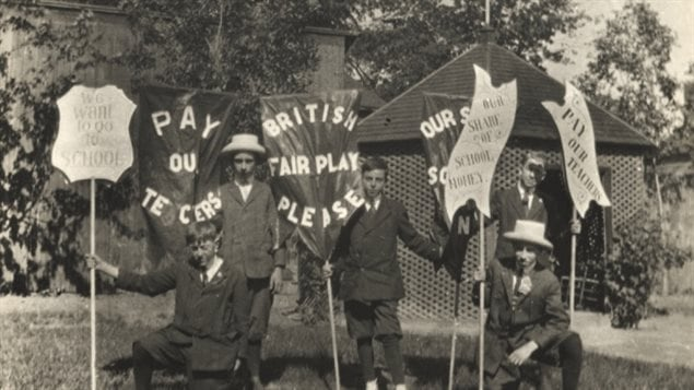French-speaking children protested Regulation 17 which virtually banned the use of French in schools in Ontario between 1912 and 1927.