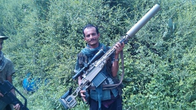 Experts have concluded this distinctive 50.cal sniper weapon held by a suspected Houthi figher in Yemen is likely the Canadian-made LRT-3 sniper rifle manufactured by a specialty manufacturer in Winnipeg