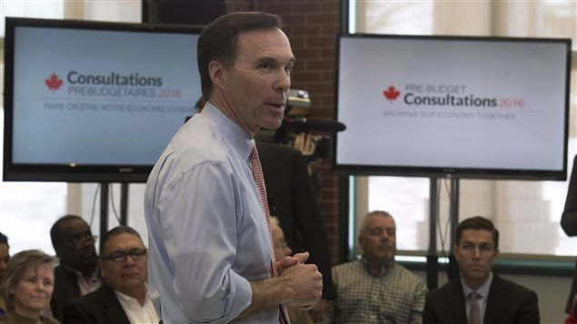 Minister of Finance Bill Morneau participates in a town hall meeting ahead of pre-budget consultations in Ottawa, Monday February 22, 2016.