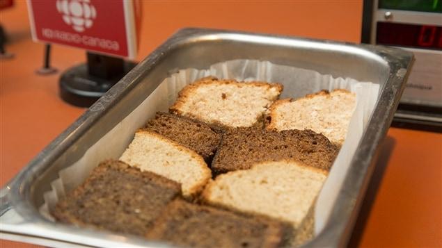 Morceaux provenant de quatre recettes diff�rentes de pain aux bananes, toutes cuisin�es par Lesley Chesterman!