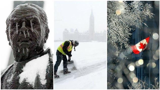 Un montaje de diferentes tomas de invierno tomadas en la capital nacional, Ottawa.