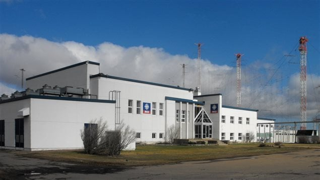 in 2009 the RCI transmitter station outside Sackville, New Brunswick was still quite active broadcasting to the world. Designed by CBC's chief architect D. G. McKinstry, the building opened in 1944 and was scheduled to be closed in 2012. A portion of the large RCI shortwave antenna system is visible in the background.  The building and antennaes now gone.