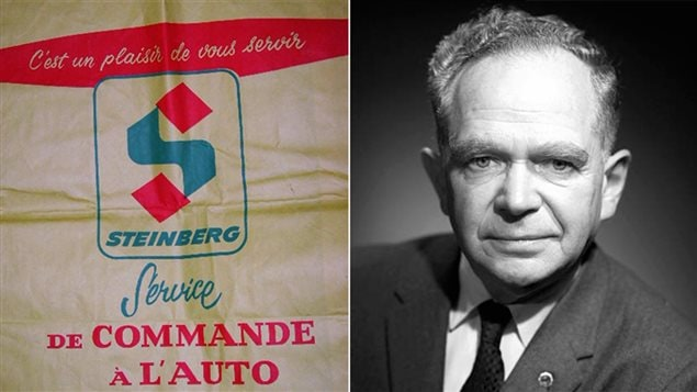 Un sac du supermarch� Steinberg et une photo de l'entrepreneur Sam Steinberg, en 1961