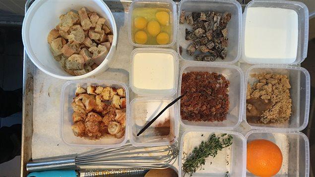 Les ingrédients de la recette de pain perdu aux figues et abricots du chef Marc-André Royal
