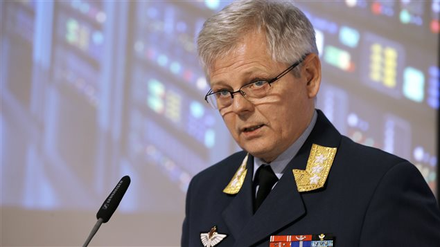 Chief of Norwegian Intelligence Service Lt. Gen. Morten Haga Lunde speaks to reporters at the presentation of Focus 2016 intelligence assessment report.