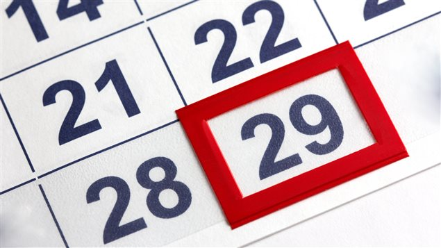 Le 29 février dans un calendrier