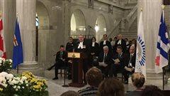 Cérémonie de reconnaissance des Rendez-vous de la Francophonie à la législature albertaine le 3 mars 2015.
