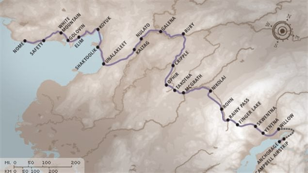 Route of the 2016 Iditarod. About 1600 km across Alaska.