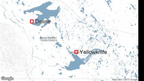 Le village de Deline des Territoires du Nord-Ouest sur la carte. Il est situé à 400 kilomètres au nord-ouest de Yellowknife, la capitale des Territoires du Nord-Ouest