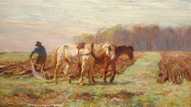 Détail des Labours, une peinture d'Horatio Walker (1901)