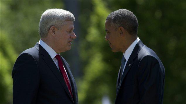 Stephen Harper et Barack Obama, au Sommet du G7 en Allemagne, 2015.