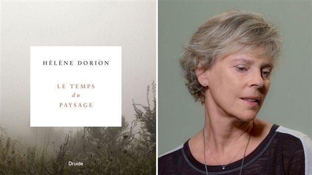 Hélène Dorion et la couverture de son dernier livre, <em>Le temps du paysage</em>