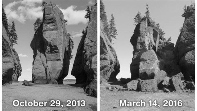 Les deux photos ont été prises au même endroit à 17 mois d'intervalle.