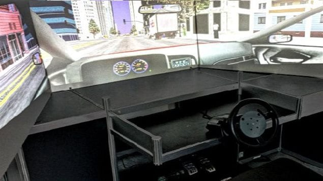 Driving simulator used in testing at the Laboratory of Cognitive Ageing at the University of Ottawa
