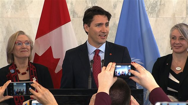 Prime Minister Justin Trudeau officially launched Canada's campaign for a non-permanent seat on the Security Council In the lobby of the United Nations headquarters in New York on March 16, 2016.