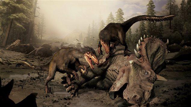 Une représentation du Boreonykus, un dinosaure ressemblant au vélociraptor