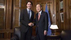 Justin Trudeau et Ban Ki-Moon.
