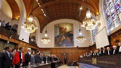 Une salle de la Cour pénale internationale à La Haye aux Pays-Bas.