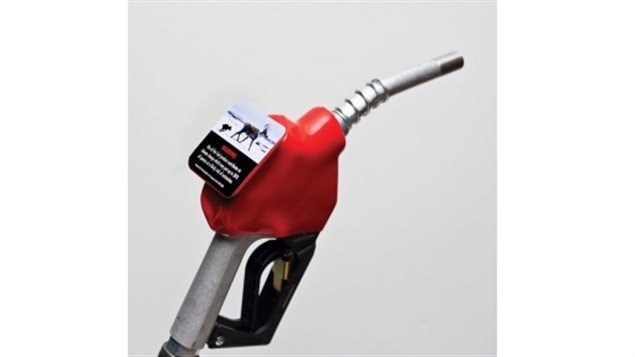 The stickers would be affixed to each nozzle at a cost to the gas station of $16 each.