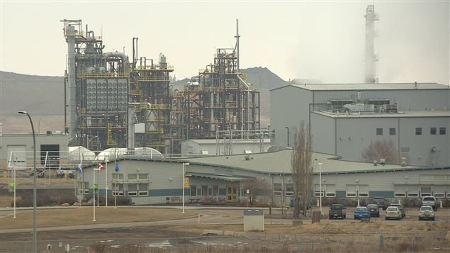 La centrale construite par Edmonton au centre de tri des déchets Clover Bar d'Edmonton.